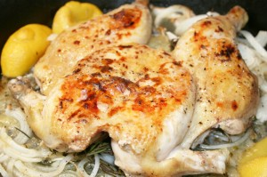 Butterflied Chicken with Lemon and Herbs © Photo by Angela Gunder