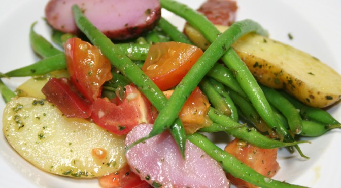 String Beans, Purple Potatoes and Heirloom Tomatoes © Spice or Die