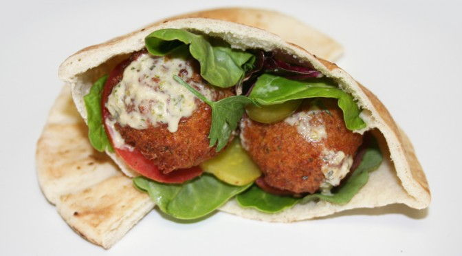 Mother Stuffin' Falafel Pita with Spicy Tahini Dressing