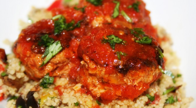 Harissa Lamb Meatballs with Roasted Vegetable Couscous