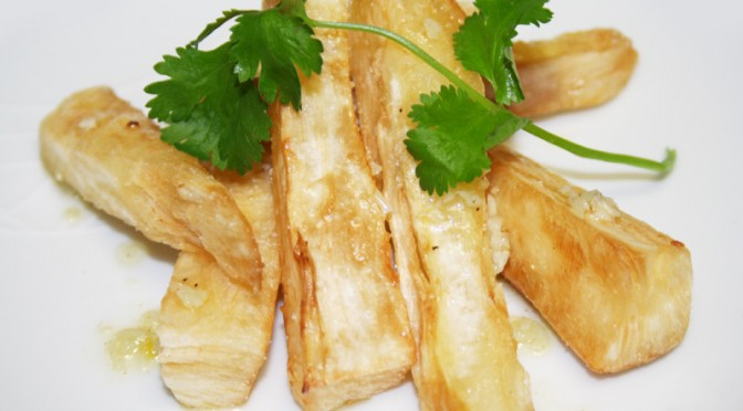 Fried Yucca with Mojo Criollo