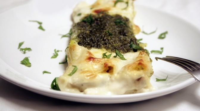 Wild Mushroom Cannelloni with Kale Pesto and Bechamel