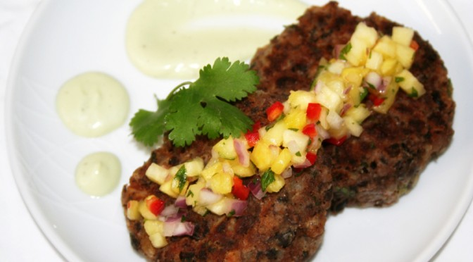 Black Bean Cakes with Pineapple Salsa and Avocado Crema