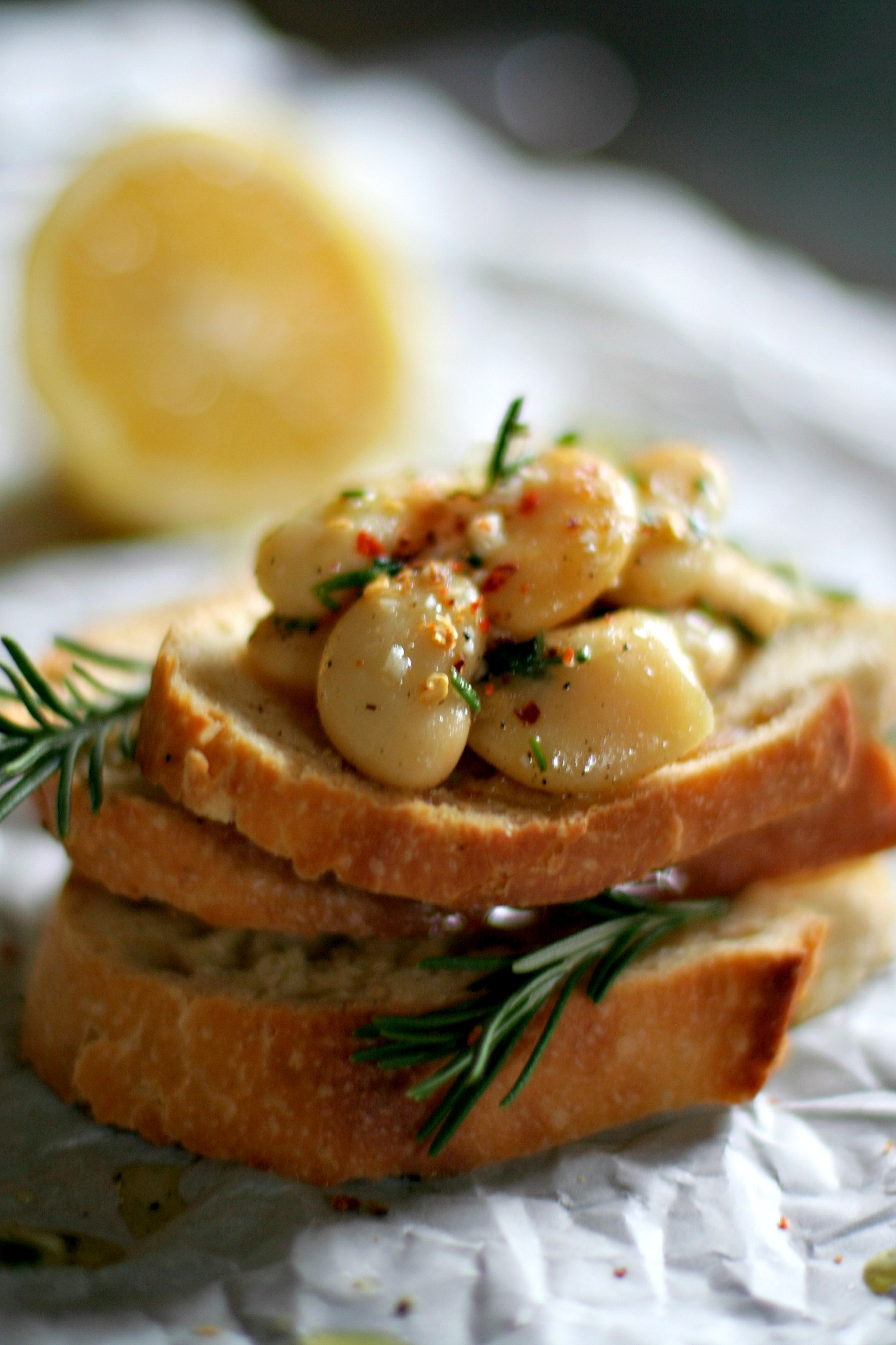 White Bean Bruschetta with Rosemary and Lemon - Spice or Die